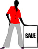 Vector clipart: Girl with sale board.