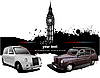 Vector clipart: London background with Big Ben and two taxicabs
