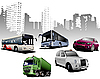 Vector clipart: Five examples of city transport on urban background.