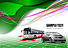 Vector clipart: Abstract green background with bus and cars