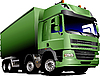 Vector clipart: Green truck on the road.