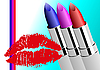 Vector clipart: Women's makeup equipment. Three Lipstick.