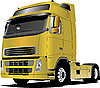 Vector clipart: Yellow truck on the road.