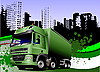 Vector clipart: Abstract urban background with lorry.