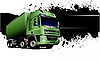 Vector clipart: Banner with green garbage trucks.