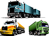 Vector clipart: Green, blue and yellow trucks