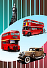 Vector clipart: Retro Broun car and two London double Decker buses .