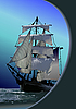 Vector clipart: Marine background with sail ship.