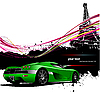 Vector clipart: Green sport car with Paris background.