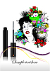 Vector clipart: Floral woman face with mascara.
