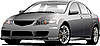 Vector clipart: Gray (grey) car sedan on the road.