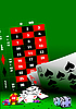 Vector clipart: Casino elements on green table.