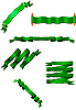 Vector clipart: Six green ribbons.