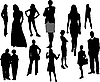 Vector clipart: Women and men silhouettes