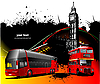 Vector clipart: London background with two generations of double Decker red bus