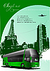 Vector clipart: Paris poster with bus
