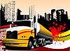 Vector clipart: urban background with truck