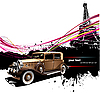 Vector clipart: Old car with Paris background.