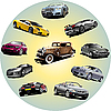 Vector clipart: Ten cars in circle.