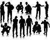 Vector clipart: Handsome men silhouettes