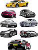 Vector clipart: Eight cars on the road.