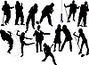 Векторный клипарт: Тринадцать силуэт певицы.