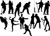 Vector clipart: Thirteen singer silhouettes.