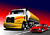 Vector clipart: Car and truck on the road.