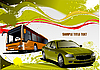 Green and Yellow grunge background with bus and car. Vect
