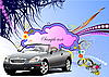 Vector clipart: Grunge floral greeting wedding card with cabriolet