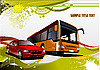 Green and Yellow grunge background with bus and car