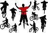 Vector clipart: Ten men with bicycle.