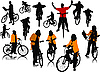 Vector clipart: Fourteen people silhouettes with bicycle.