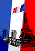 Vector clipart: Cover for brochure with Paris and France flag