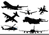 Vector clipart: Seven black and white Airplane silhouettes