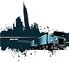 Vector clipart: Grunge blot banner with town and truck
