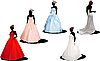 Vector clipart: Five brides are ready for wedding ceremony