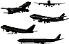 Vector clipart: Five black and white Airplane silhouettes