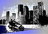 Vector clipart: Grunge urban background with two bikers