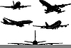 Vector clipart: Five Airplane silhouettes