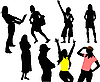 Vector clipart: Eight woman silhouettes.