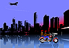Vector clipart: City panorama with motorcycle.