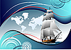 Vector clipart: Cover for brochure with old sailing vessel