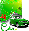 Vector clipart: Green background and green car sedan
