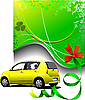 Vector clipart: Green background and yellow car sedan