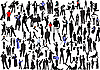 Vector clipart: 100 people silhouettes