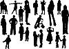 Векторный клипарт: Двадцать детских силуэтов