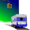 Vector clipart: Camper van with traffic lights