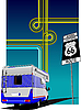 Vector clipart: Camper van and junction. Route 66