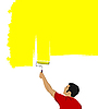 Vector clipart: Young man paints the wall brush.